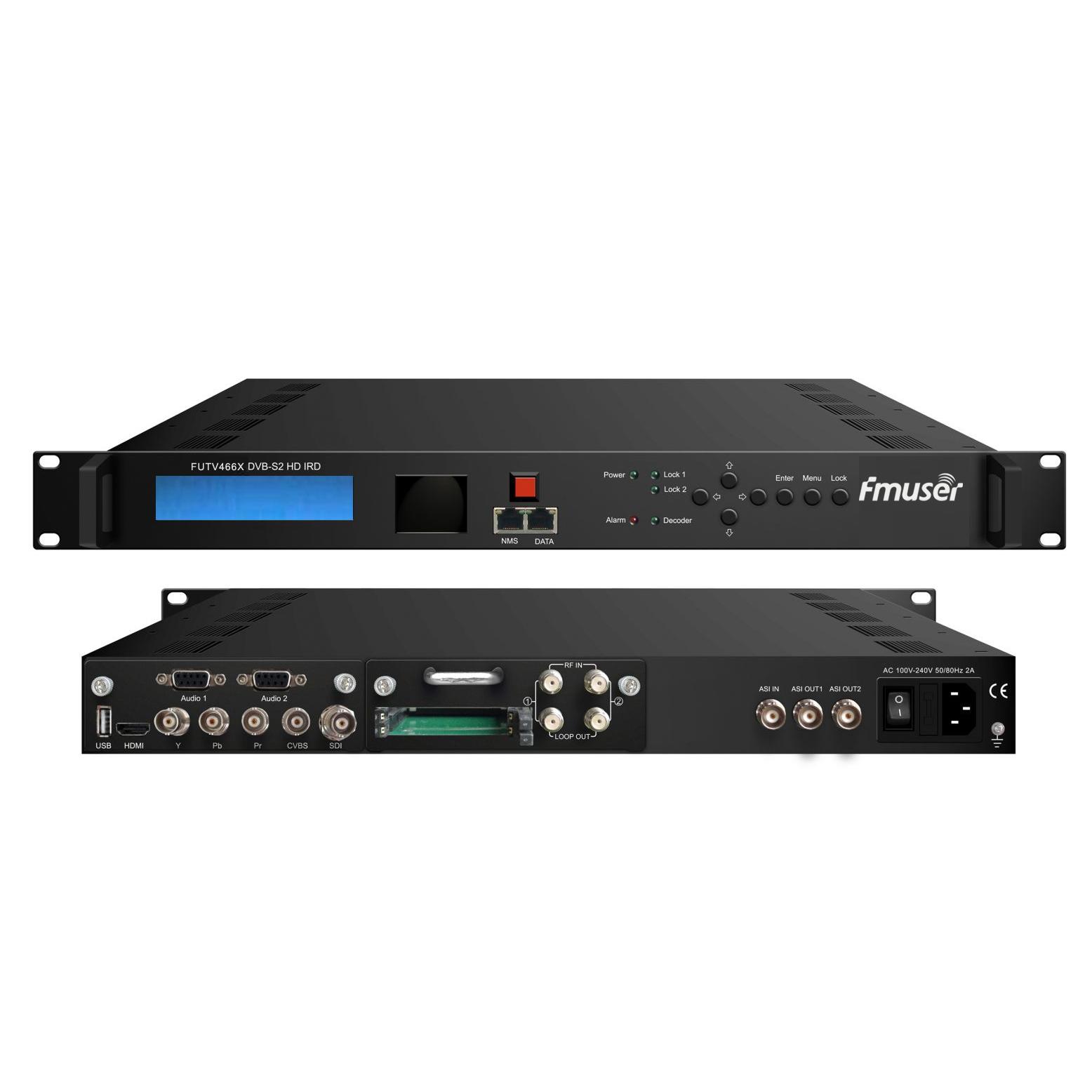 FMUSER FUTV466X 2 тунер CAM HD IRD (2 DVB-C / T / S / S2 RF вход, 1 ASI IP вход, 2 ASI 1 IP изход) с MUX BISS