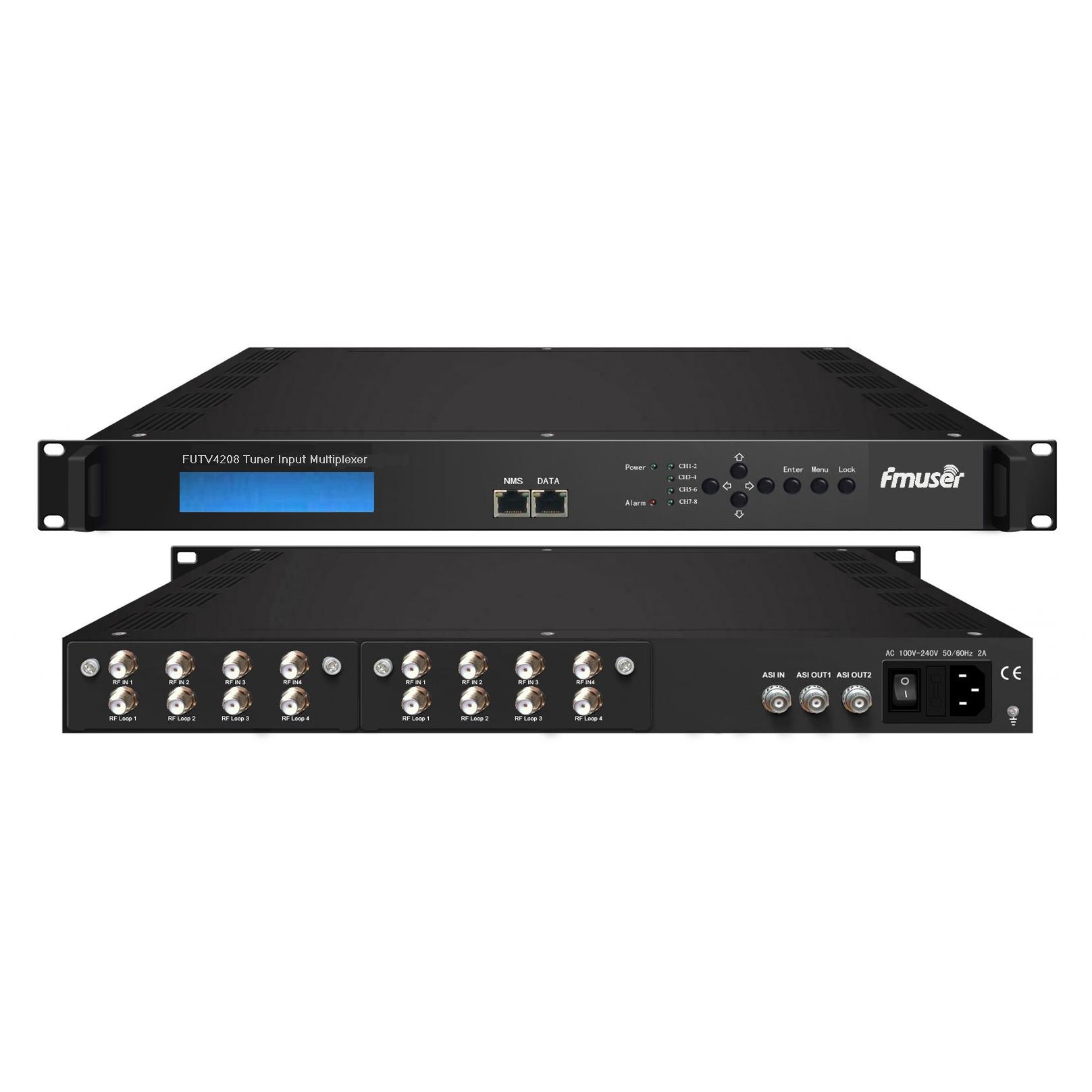 FMUSER FUTV4208 8 Tuner IRD (8 DVB-S2 / T RF Input, 1 ASI In, 2 ASI 1 IP Output) Multiplexer