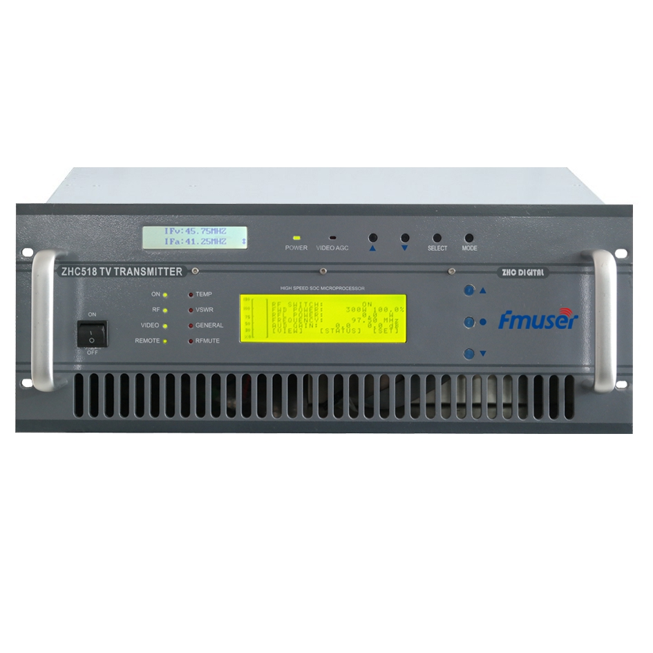 Transmissor de TV analògic FMUSER FU518A-300W de 300 watts per a estacions de TV rack 4U