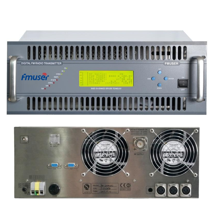 FMUSER FU618F-2000C 2KW Transmissor FM profissional Tamanho compacto DSP DDS Broadcaster