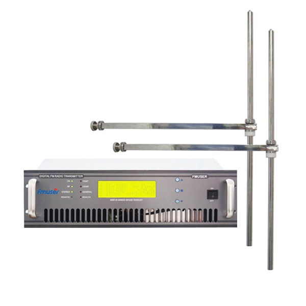 FMUSER FU618F-1000C Professionele 1000 watt 1kw FM-zender FM-uitzending radiozender + 2 Bay FM-DV1 dipoolantenne voor FM-radiostation