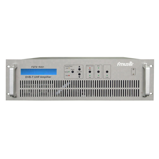 FMUSER FUTV-9451室内(50瓦)UHF MUDS宽带高清SD MPEG2 4 H.264 DVB-T DVB-C DTMB电视广播发射机MFN 10w放大器