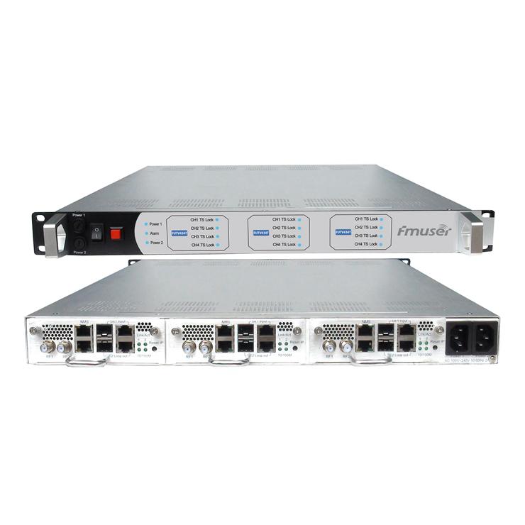 FMUSER FMUSER FUTV434T 256 3 X canale IP în 12 3 X RF out IPMUX DVB-T Modulator cu 1 8 Modulul Frecvențe