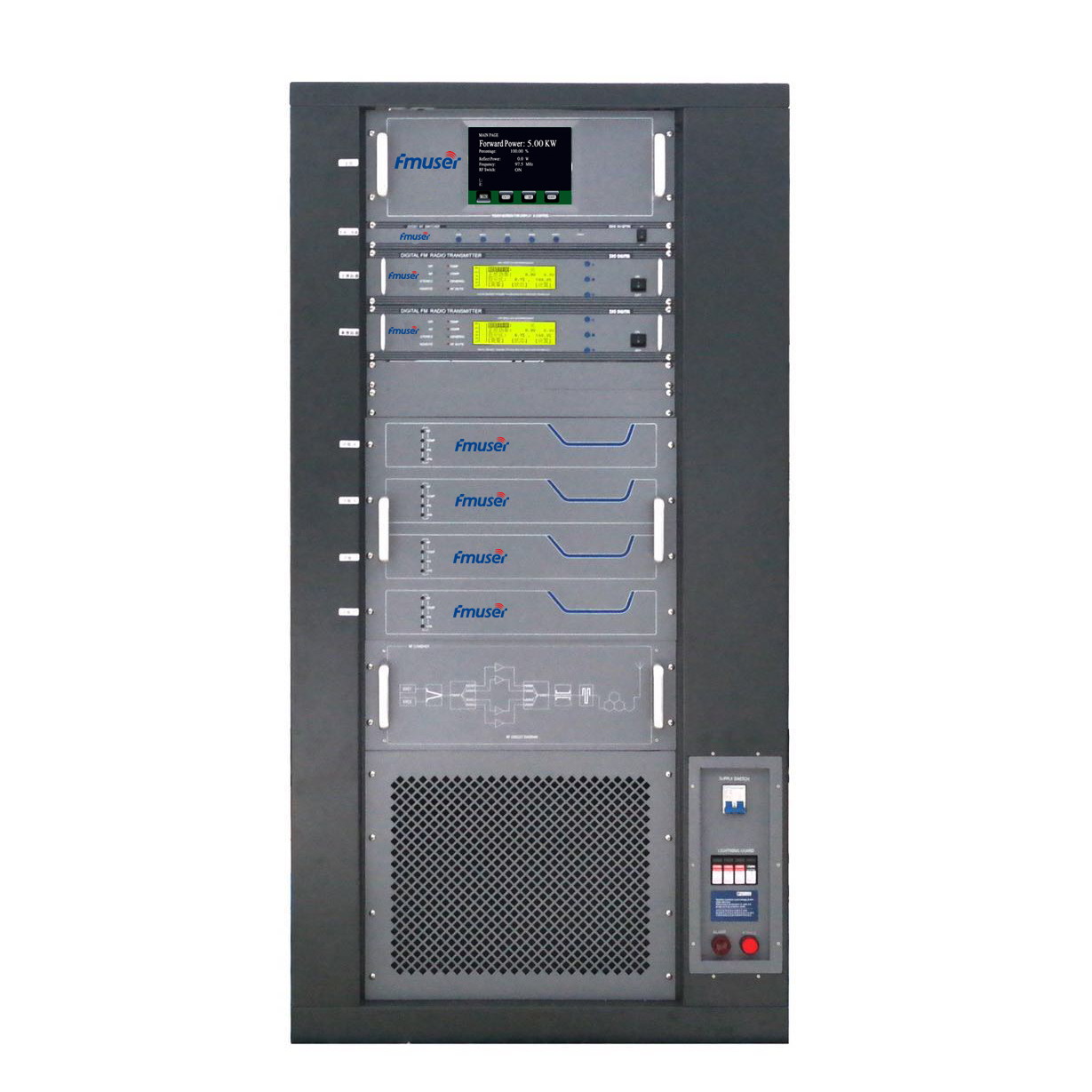FMUSER FU618F-5kw 5000W 5KW Professional FM broadcast transmitter Rack Mount AES / EBU wiith AGC for City Radio Station