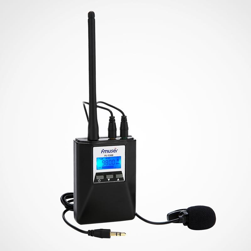 FMUSER FU-T300 0.2W Pemancar Radio FM Set Portable Daya Lebih Rendah Pemancar FM PLL Stereo / Mono Untuk Pertunjukan Cahaya / Panduan Wisata / Konferensi / Drive-in Cinema